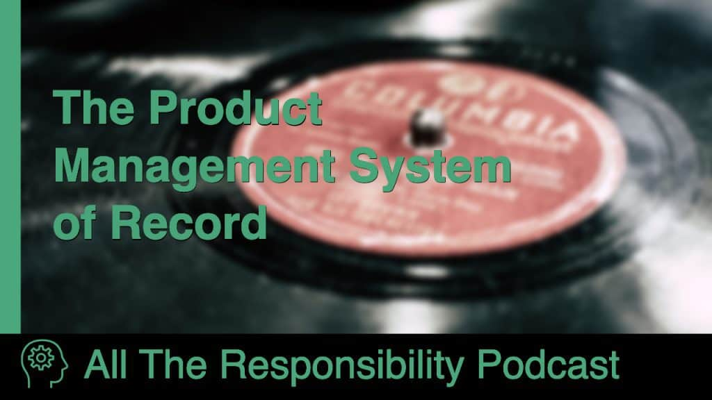 "A title card with a picture of an LP record and the name ""The Product Management System of Record"""